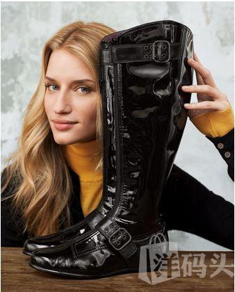 美国直递 Taryn Rose 黑色扣配漆皮女靴 36 超美