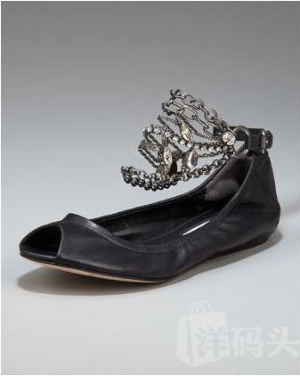 美国直递 Lavender Label Vera Wang Lanza 脚踝链条鱼嘴鞋 36.5