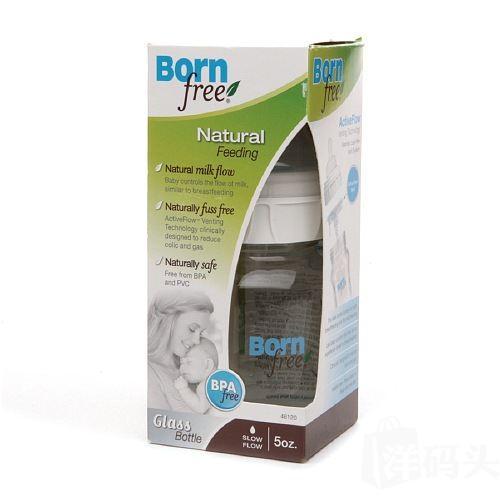 美国直邮 新版Born free宽口玻璃奶瓶防胀气 5oz/160ml 0-3个月