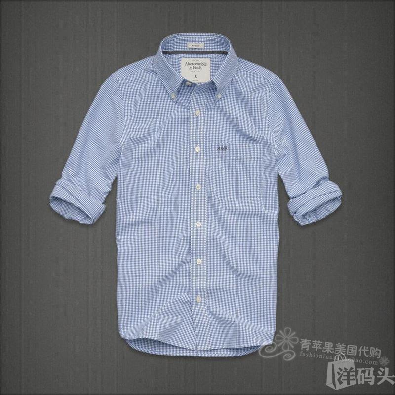 【美国正品国内现货】Abercrombie&Fitch男士全棉蓝色格子衬衫M码