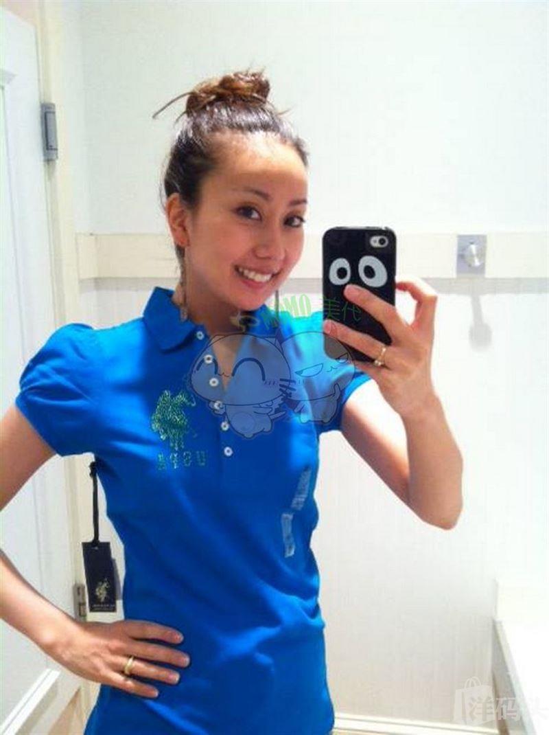 USPA Polo 女款闪钻大马标 泡泡袖POLO衫 美国代购