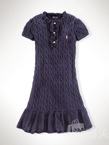 Ralph Lauren全棉针织连衣裙大童XL码