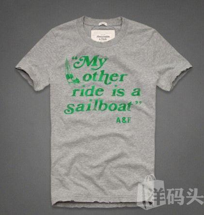 【特价】af 男款 CALKINS BROOK 短袖 趣味文字 修身 T恤 浅灰