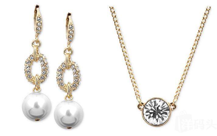 【Givenchy】纪梵希10K金耳坠和水晶锁骨项链