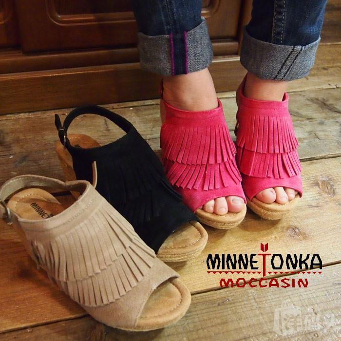 minnetonka迷你唐卡女鞋 反绒皮双层流苏凉鞋 磨砂牛皮编织坡跟鞋