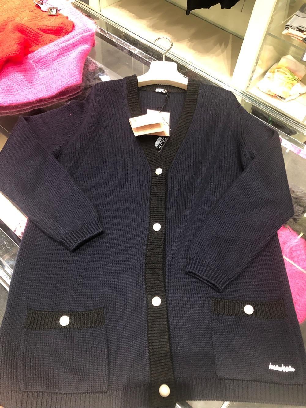 miumiu 女士羊毛外套刺绣标珍珠扣子宽松版折上折现货38码