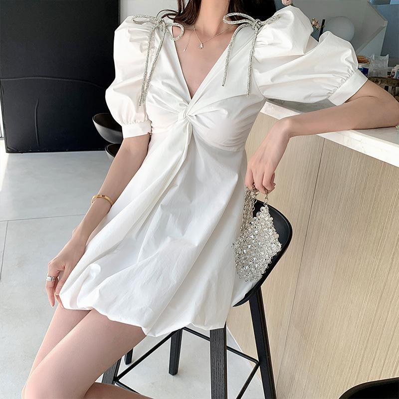 ZARA专柜正品女装水钻蝴蝶结可爱白色公主裙泡泡袖连衣裙女