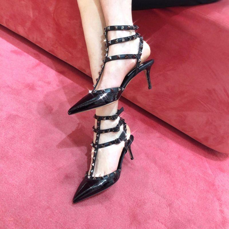 《特价秒杀》华伦天奴Valentino经典款黑色柳丁女高跟鞋65mm正品