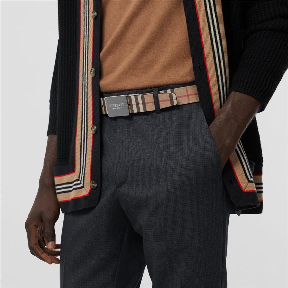BURBERRY/巴宝莉男士vintage经典格纹双面腰带平滑扣皮带80198171