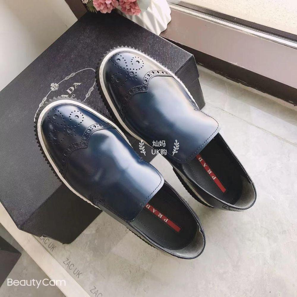 Prada普拉达男鞋 英伦风 布洛克 雕花 单鞋 休闲皮鞋 折扣款