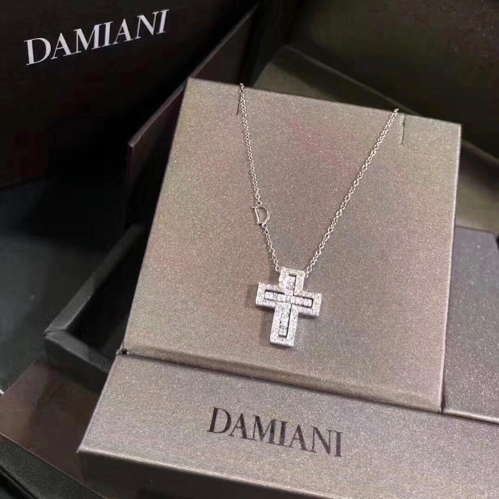 DAMIANI 玳美雅 白金满钻十字架项链 型号20083490 全新正品