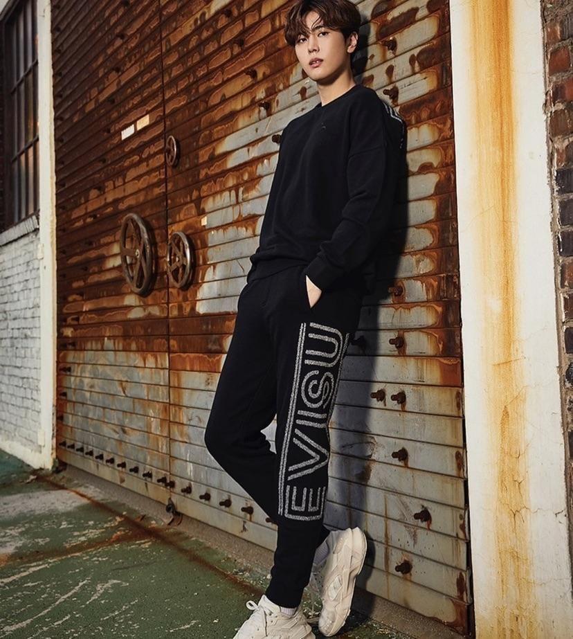 韩国 EVISU福神 卫裤大logo松紧休闲卫裤长裤 运动裤ER4UZP711
