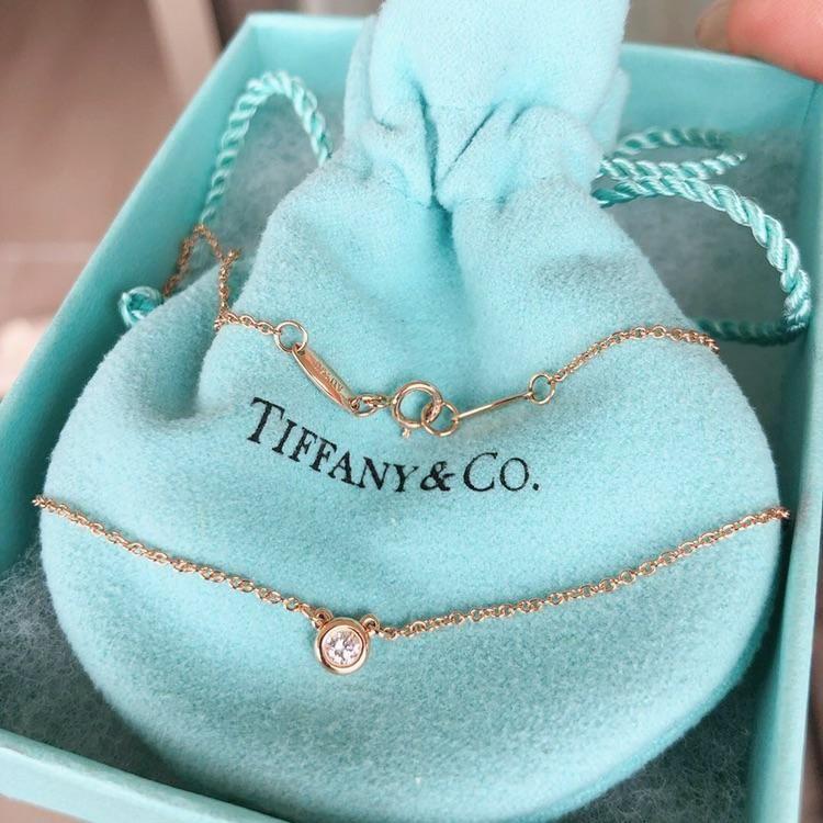 中古正品蒂芙尼k18玫瑰金泡泡钻钻石项链钻石0.14克拉日本直邮