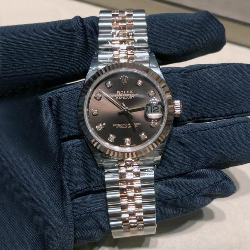 【全新正品】Rolex劳力士女装日志间金女表31mm巧克力盘m278271