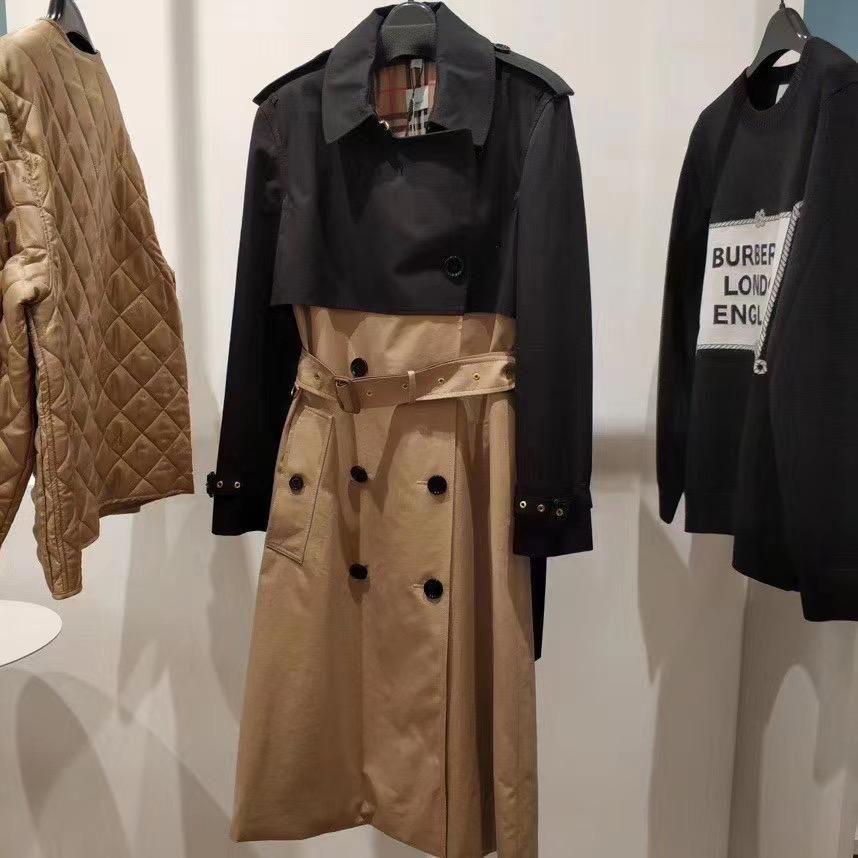 BURBERRY 巴宝莉女士风衣 20早春新款黑色拼米色TRENCH大衣1990欧