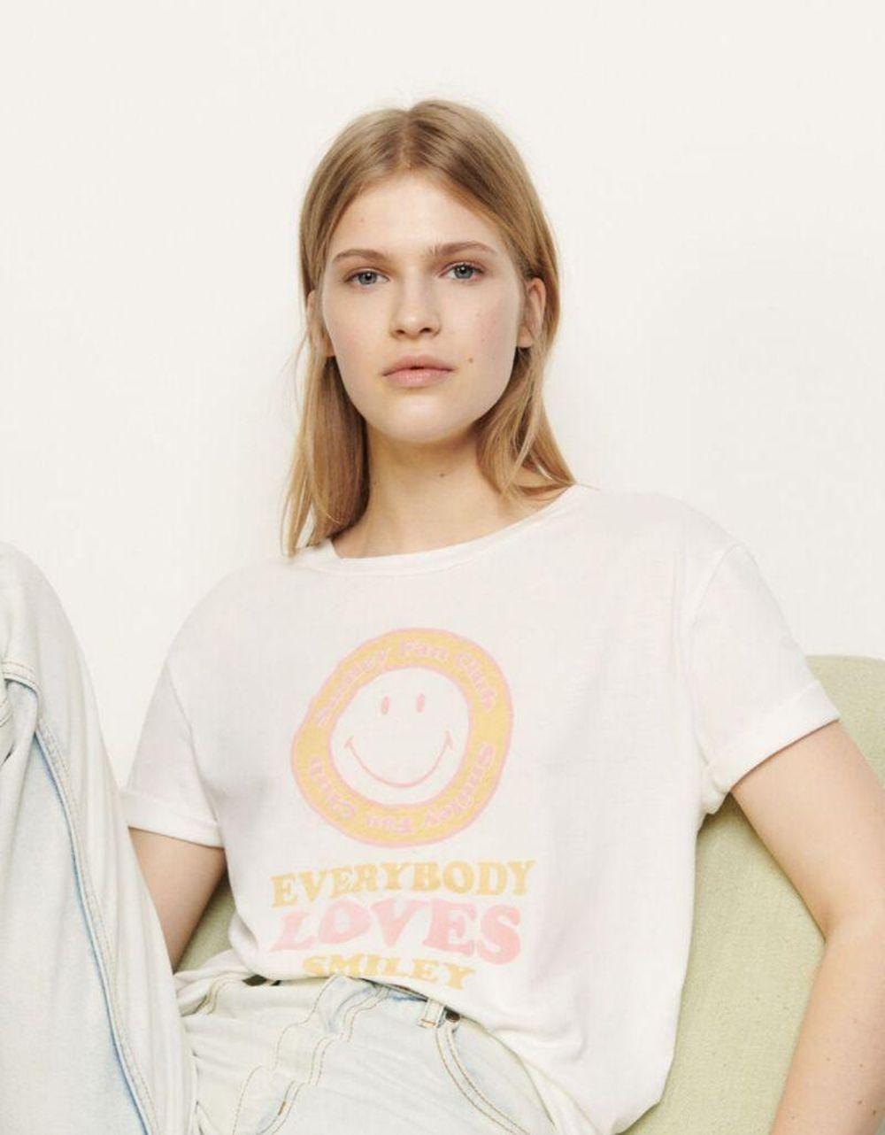 5折Sandro女士短袖春夏款撞色笑脸印花有机棉T恤上衣SFPTS00635