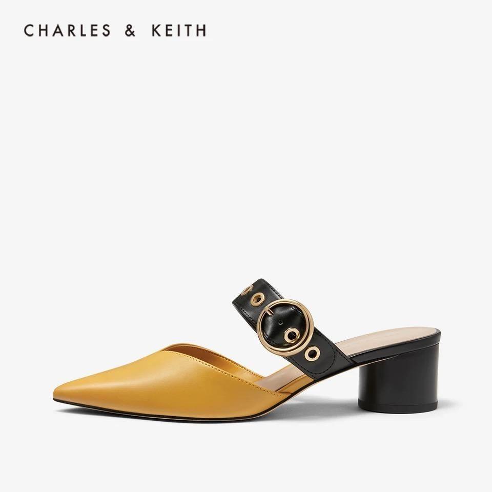 CHARLES&KEITH2020夏季新品小CK女士尖头高跟凉鞋穆勒鞋