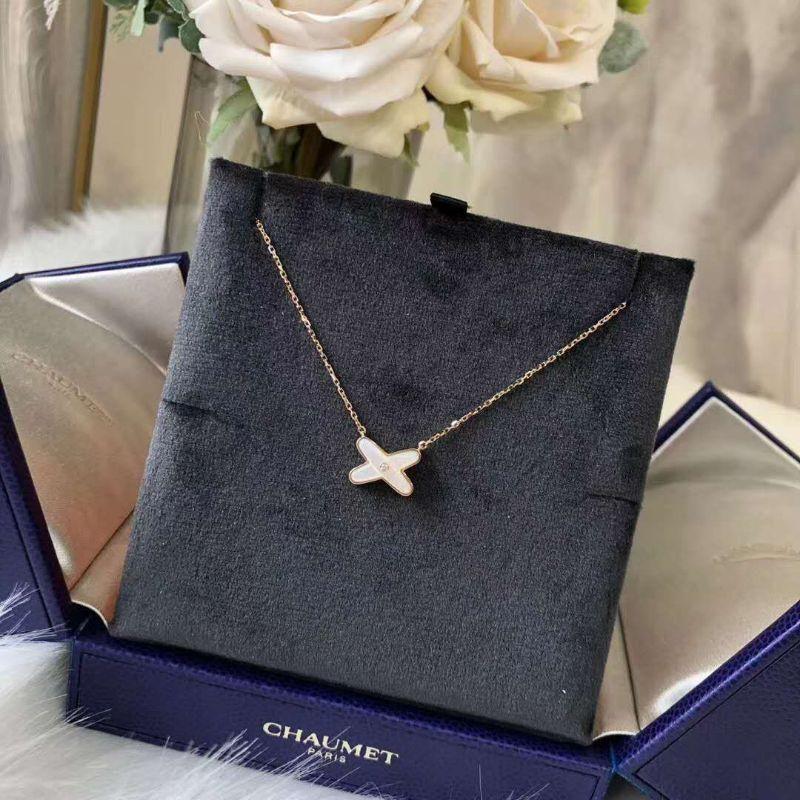 Chaumet 尚美项链Liens系列 X型交叉钻石镶嵌玫瑰金项链 082930