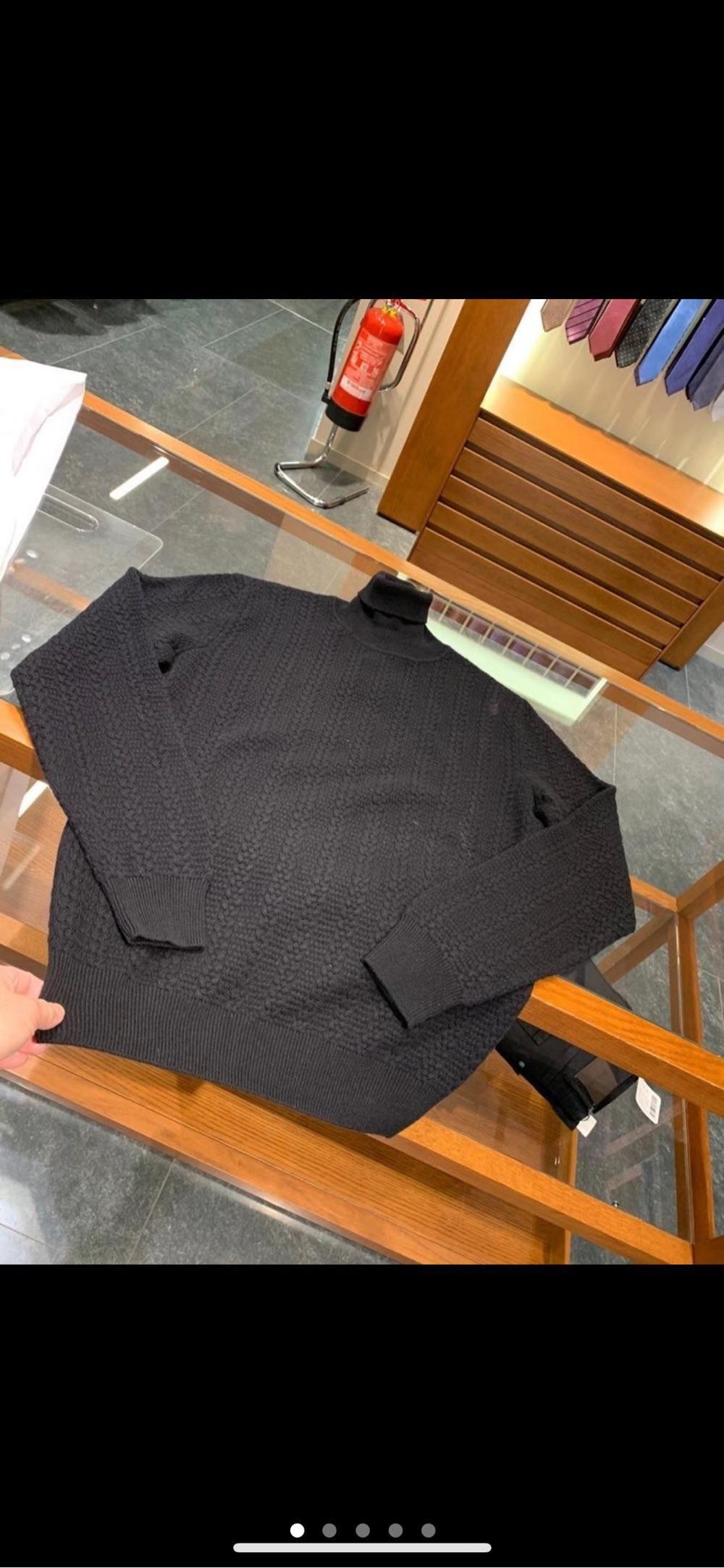 杰尼亚 年终折扣!山羊绒,厚款油条纹高领毛衣