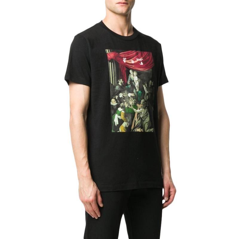 OFF WHITE 男士印花黑色T恤 OMAA027E20JER008-1010