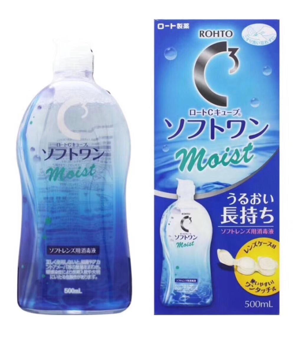 日本乐敦清C3近视隐形眼镜护理液500ml大瓶Rohto美瞳药水