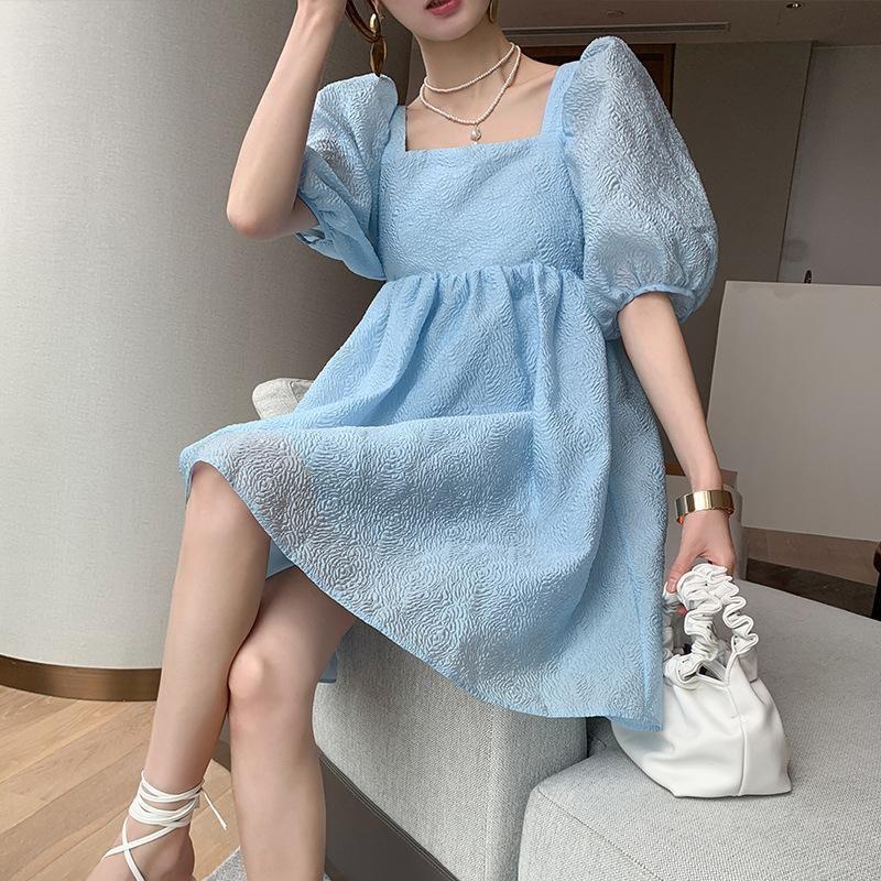 ZARA专柜正品女装2020夏季后背系带泡泡袖宽松蓝色法式连衣裙
