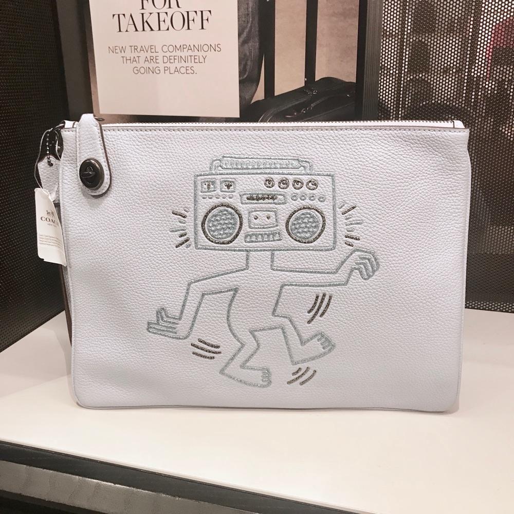 年中特价清仓 Coach专柜女士Keith Haring联名款全牛皮大手包